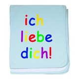 Ich liebe dich! I love you! German baby blanket