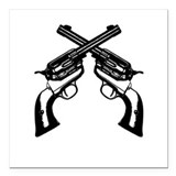 "Guns Crossed Square Car Magnet 3"" x 3"""