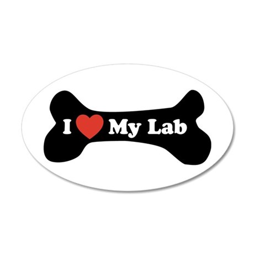 I Love My Lab - Dog Bone 20x12 Oval Wall Decal