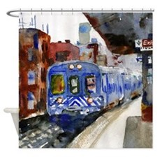 NYC Blue Train Bathroom Shower Curtain