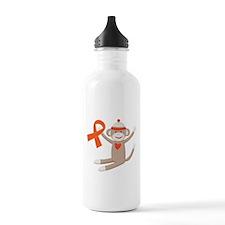 Orange Ribbon Sock Monkey Sports Water Bottle