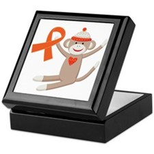 Orange Ribbon Sock Monkey Keepsake Box
