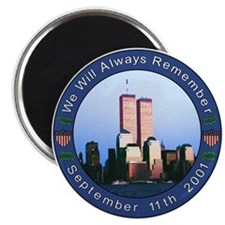 Twin Towers Tribute to 9/11 Refrigerator Magnet