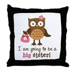 Big Sister to be - Mod Owl Throw Pillow