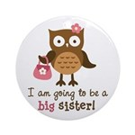 Big Sister to be - Mod Owl Ornament (Round)
