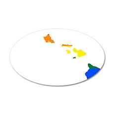 Rainbow Pride Flag Hawaii Map 20x12 Oval Wall Deca