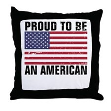 Proud to be an American - Distressed Throw Pillow