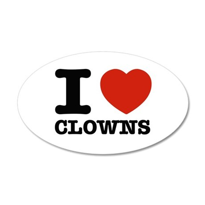 I heart Clowns 35x21 Oval Wall Decal