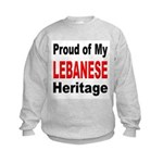 Proud Lebanese Heritage (Front) Kids Sweatshirt