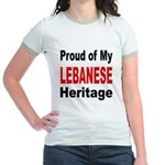 Proud Lebanese Heritage (Front) Jr. Ringer T-Shirt