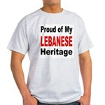 Proud Lebanese Heritage (Front) Ash Grey T-Shirt
