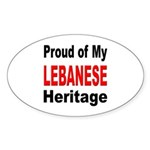 Proud Lebanese Heritage Oval Sticker