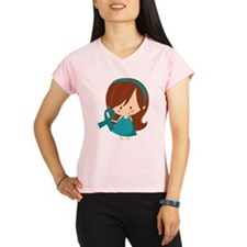 Teal Ribbon Girl Awareness Performance Dry T-Shirt