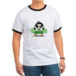 Green CheerLeader Penguin Ringer T