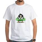 Green CheerLeader Penguin White T-Shirt