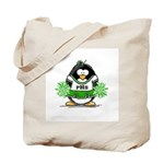 Green CheerLeader Penguin Tote Bag