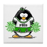 Green CheerLeader Penguin Tile Coaster