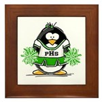 Green CheerLeader Penguin Framed Tile