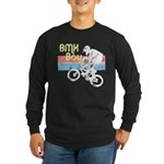 1980s BMX Boy Distressed Long Sleeve Dark T-Shirt
