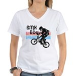 1980s BMX Boy Distressed Women's V-Neck T-Shirt