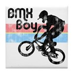 1980s BMX Boy Distressed Tile Coaster