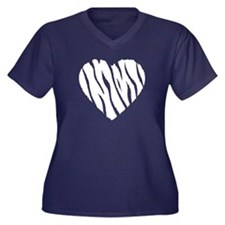 Love Zebra Women's Plus Size V-Neck Dark T-Shirt