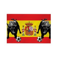 Spanish Football Bull Flag Rectangle Magnet
