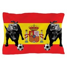 Spanish Football Bull Flag Pillow Case