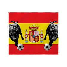 Spanish Football Bull Flag Throw Blanket