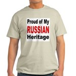 Proud Russian Heritage (Front) Ash Grey T-Shirt