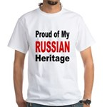 Proud Russian Heritage (Front) White T-Shirt
