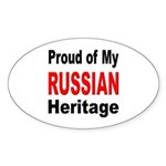 Proud Russian Heritage Oval Sticker