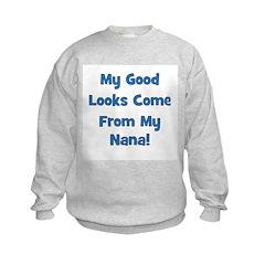 Good Looks From Nana - Blue Kids Sweatshirt