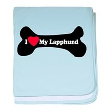 I Love My Lapphund - Dog Bone baby blanket