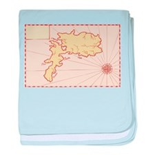 Vintage Map of Island baby blanket