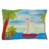 Red Sailboat Nautical Pillow Case