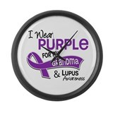 I Wear Purple 42 Lupus Large Wall Clock