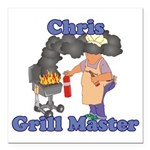 Grill Master Chris Square Car Magnet 3