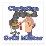 Grill Master Christian Square Car Magnet 3
