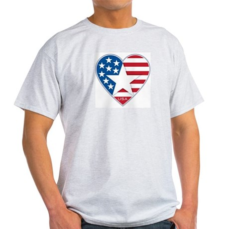 Heart Star USA: Ash Grey T-Shirt