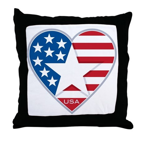 Heart Star USA: Throw Pillow