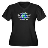 World Revolves Around Me Women's Plus Size V-Neck