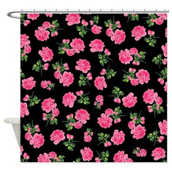 black and pink floral shower curtain