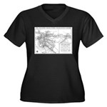 Pacific Electric Map Women's Plus Size V-Neck Dark