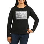 Pacific Electric Map Women's Long Sleeve Dark T-Sh