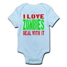 I Love Zombies Deal With It Infant Bodysuit