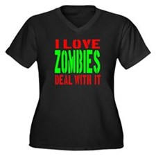 I Love Zombies Deal With It Women's Plus Size V-Ne