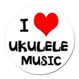 I Love Ukulele Music Round Car Magnet