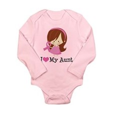 Aunt Breast Cancer Support Long Sleeve Infant Body