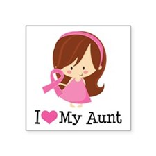 """Aunt Breast Cancer Support Square Sticker 3"""" x 3"""""""